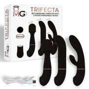 Trifecta Vibrator with 3 Interchangeable Heads Black